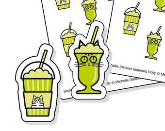 Milkshake planner stickers for cat lovers - 48 green kiss-cut shake or Frappé tracker stickers