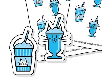 Milkshake planner stickers for cat lovers - 48 blue kiss-cut shake or Frappé tracker stickers
