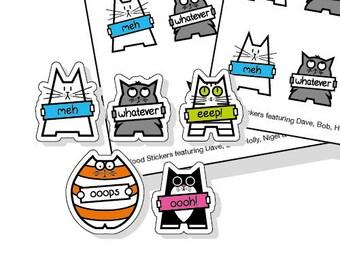 50 Cat Mood Planner Stickers, kiss-cut mood tracker sticker sheet, planner stickers UK