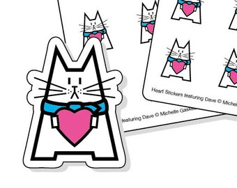 Love heart stickers - white cat with pink heart - 40 kiss-cut stickers for your planner, diary or calendar - envelope seals