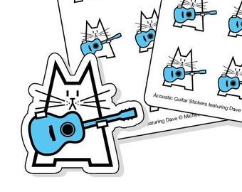 Acoustic guitar planner stickers - 40 kiss-cut stickers featuring a cat with a blue acoustic guitar