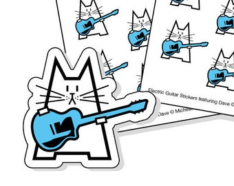 Electric guitar planner stickers - 40 kiss-cut stickers featuring a cat with a blue electric guitar