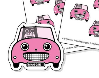 Road Trip Planner Stickers Pink - cat in a car stickers for your journal, diary or calendar - 32 kiss-cut car stickers