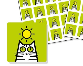 "Sunshine Planner Stickers - weather planner sticker sheet - square icon stickers 12mm / 0.5"" - 80 cat stickers - green"
