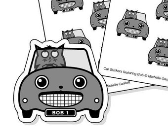 Road Trip Planner Stickers Grey - cat in a car stickers for your journal, diary or calendar - 32 kiss-cut car stickers