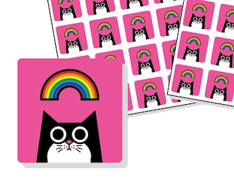 """Rainbow cat stickers - pink square planner stickers 12mm / 0.5"""" - 80 stickers - rainbow cat sticker sheets - pink stickers"""