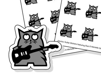 Guitar planner stickers - 40 kiss-cut grey cat with black electric guitar stickers