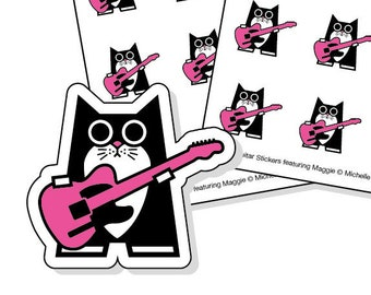 Guitar planner stickers - 40 kiss-cut cat with pink electric guitar stickers