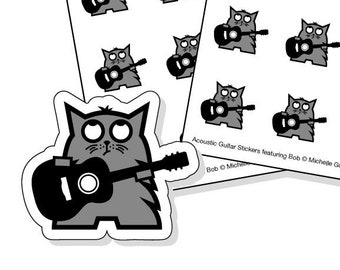 Guitar lesson planner stickers - 40 kiss-cut grey cat with black acoustic guitar stickers
