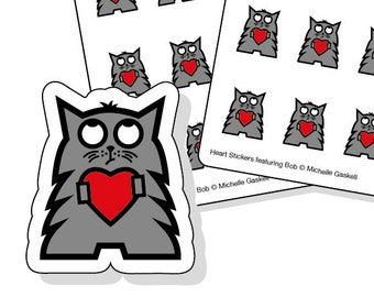 Cat love heart stickers - 50 kiss-cut stickers - grey cat with red heart - planner stickers - envelope seals