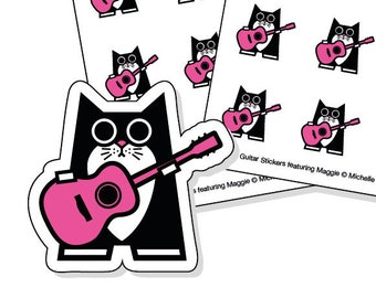 Guitar lesson planner stickers - 40 kiss-cut pink cat with acoustic guitar stickers