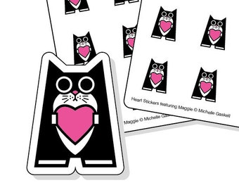 Love heart stickers - tuxedo cat with pink heart - 40 kiss-cut stickers - planner sticker sheets - envelope seals