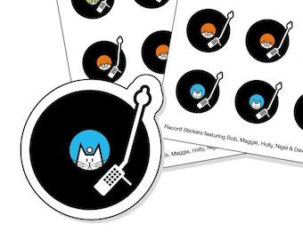 Vinyl Record Stickers - kiss-cut record tracker stickers - Cat stickers - Record Store Day
