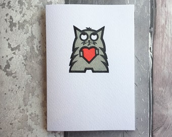 Handprinted Cat Love Heart Notecard - Grey Cat Holding Heart - Father's Day Card