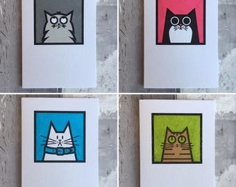 Cat Note Cards 4 pack, handprinted cat greetings cards, blank cards, birthday cards, thank you cards, cat lover card, frameable cards