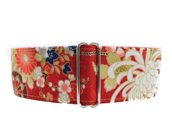 Red Martingale Dog Collar, Asian Martingale Collar, Whippet Collar, Asian Dog Collar, Wide Dog Collar, Pink Floral, Greyhound Collar