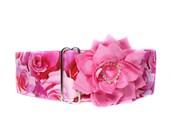 Valentine Martingale Collar, Pink Roses Martingale Collar, Valentine Dog Collar, Pink Roses Dog Collar, Greyhound Martingale Collar
