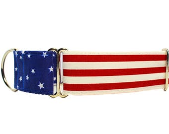 Memorial Day Martingale Dog Collar, American Flag Martingale Collar, Stars and Stripes Dog Collar, 4th of July Dog Collar, Independence Day