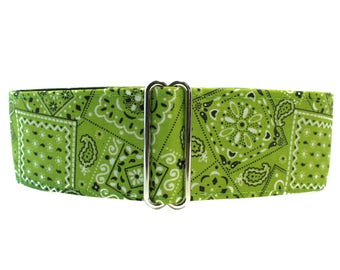 1.5 Inch Martingale Collars, Lime Martingale Collar, Bandana Martingale Dog Collar, Lime Green Bandana, Lime Green Dog Collar, Preppy