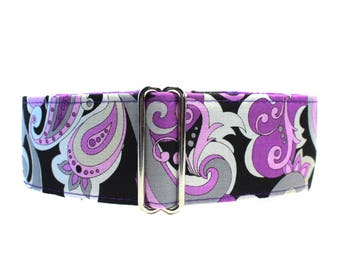 Paisley Martingale Dog Collar, 2 Inch Martingale Collar, Purple Martingale Collar, Paisley Dog Collar, Made in Canada, Sighthound Collar