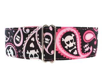 Pink Martingale Dog Collar, Paisley Martingale Collar, Paisley Dog Collar, Skull Martingale Collar, Skulls Dog Collar, Large Dog Collar
