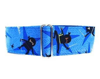 Ninja Martingale Dog Collar, Martingale Collar Greyhound, Blue Martingale Collar, Blue Dog Collar, 2 Inch Dog Collar, Large Dog Collar