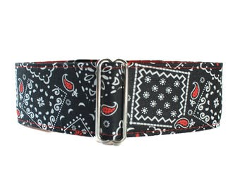 Bandana Martingale Dog Collar, Bandana Dog Collar, 2 inch Martingale Collar, Black Martingale Collar, Black Dog Collar, Greyhound Collar