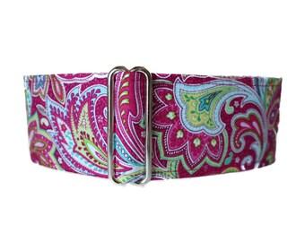 Martingale Dog Collar, Pink Paisley Martingale Collar, Paisley Dog Collar, Martingale Dog Collar Greyhound, Sighthound Collar