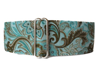 Aqua Martingale Dog Collar, 2 Inch Martingale Collar, Aqua Dog Collar, Paisley Martingale Collar, Greyhound Collar, Paisley Dog Collar