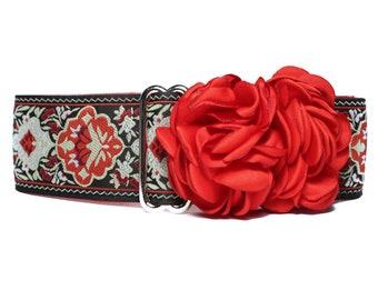 Christmas Martingale Dog Collar, Christmas Dog Collar, Jacquard Martingale Collar, 1.5 Inch Dog Collar, Red Dog Collar