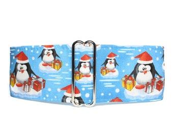 Christmas Martingale Dog Collar, Christmas Dog Collar, Penguin Dog Collar, Penguin Martingale Collar Greyhound