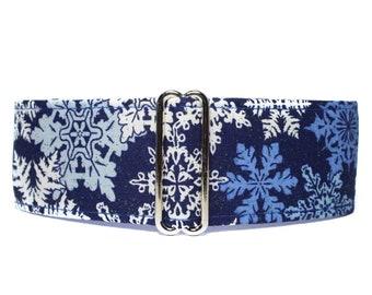 Christmas Martingale Dog Collar, Snowflake Martingale Collar, Christmas Dog Collar, Snowflake Dog Collar, 1.5 Inch Dog Collar