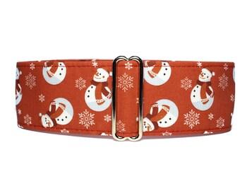 Christmas Martingale Dog Collar, Snowman Martingale Collar Greyhound, Christmas Dog Collar, Snowman Dog Collar