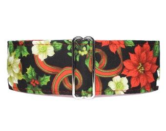 Christmas Martingale Dog Collar, Christmas Dog Collar, Poinsettia Martingale Collar, Poinsettia Dog Collar