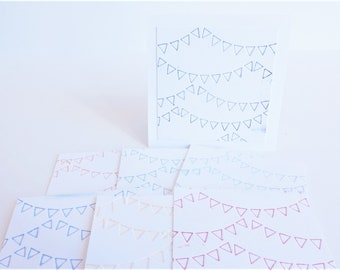 Bulk Letterpress Banner Mini Blank Note Card Set of 10, 25, 50, Business Packaging Cards, Love Notes 3 x 3 Blank Cards, Mini Thank You Cards