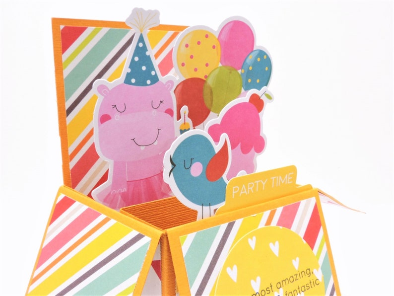 Personalize Birthday Card For Her Gift Card Holder Blank Birthday Card For Girl Pink Birthday Card Custom Animal Pop-up Birthday Card