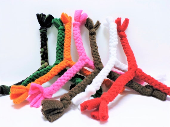 Multi-Color Durable Braided Pet Toy Rope Ring Red Yellow Tennis Ball Attached