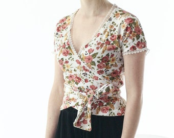 Floral Wrap Around Blouse / Wrapover Spring Shirt / Short Sleeve Delicate Blouse