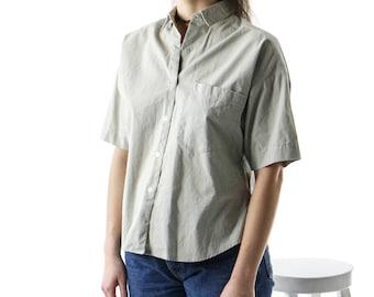 Beige Short Sleeve Blouse / Basic Boxy Shirt / Oversized Button Up Shirt