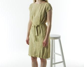 Golden Dress / Short sleeve Dress / Short Straight Dress