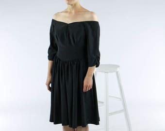 Black Midi Dress / Off Shoulder Dress / Bardot 80s Dress