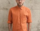 Orange Button Up Shirt / Long Sleeve Soft Shirt / Mens Fall Orange Button Up