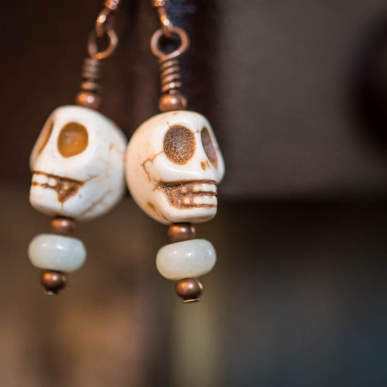 Earrings Day of the Dead Skulls in Ivory image 0