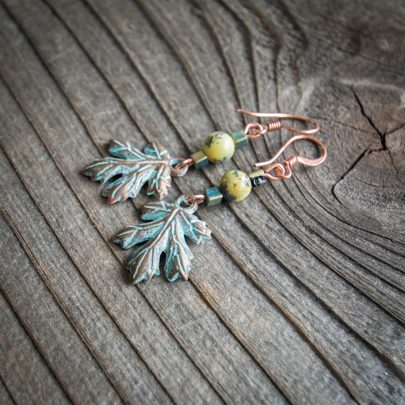 Yellow Turquoise and Copper Drop Leaf Earrings image 0