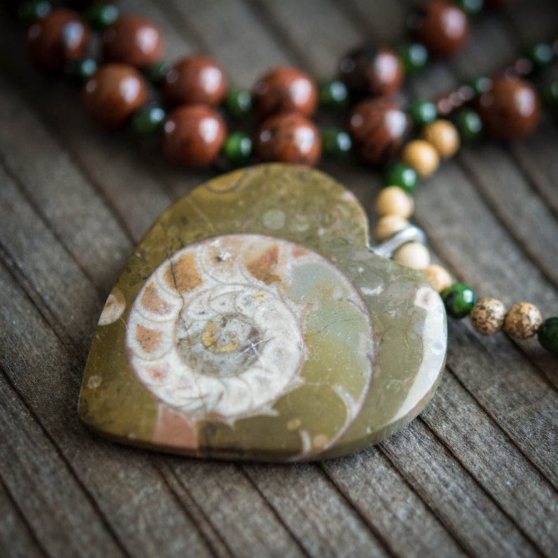 Moroccan Heart Shaped Fossil Necklace  Mohagany image 0
