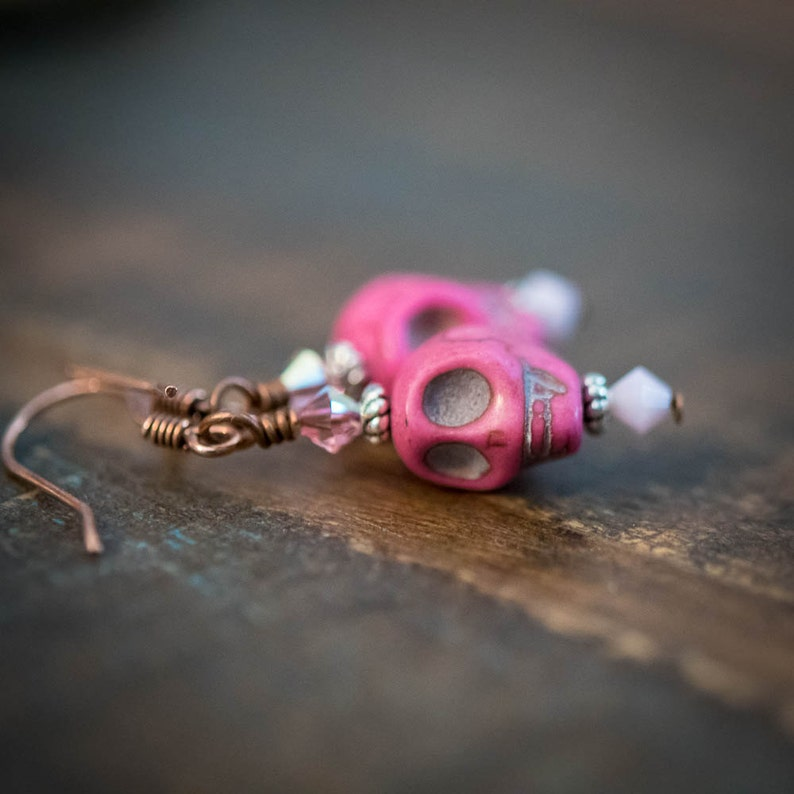 Earrings Day of the Dead Skulls in Hot Pink image 0