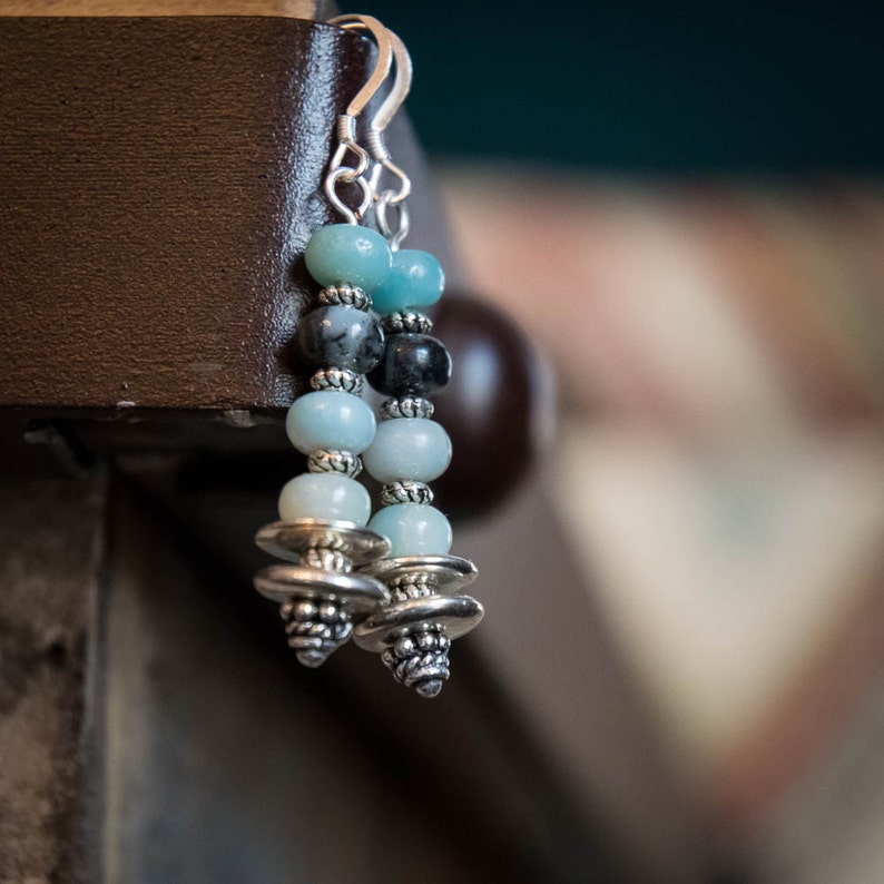 Earrings Amazonite and Silver image 0