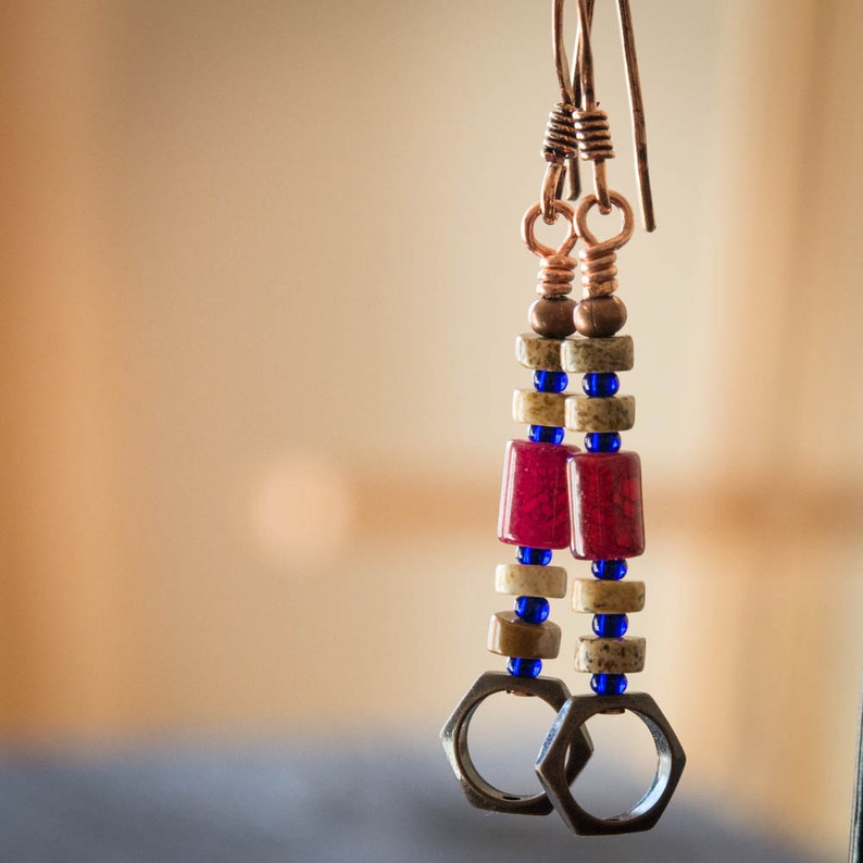 Rustic Red and Copper Earrings image 0