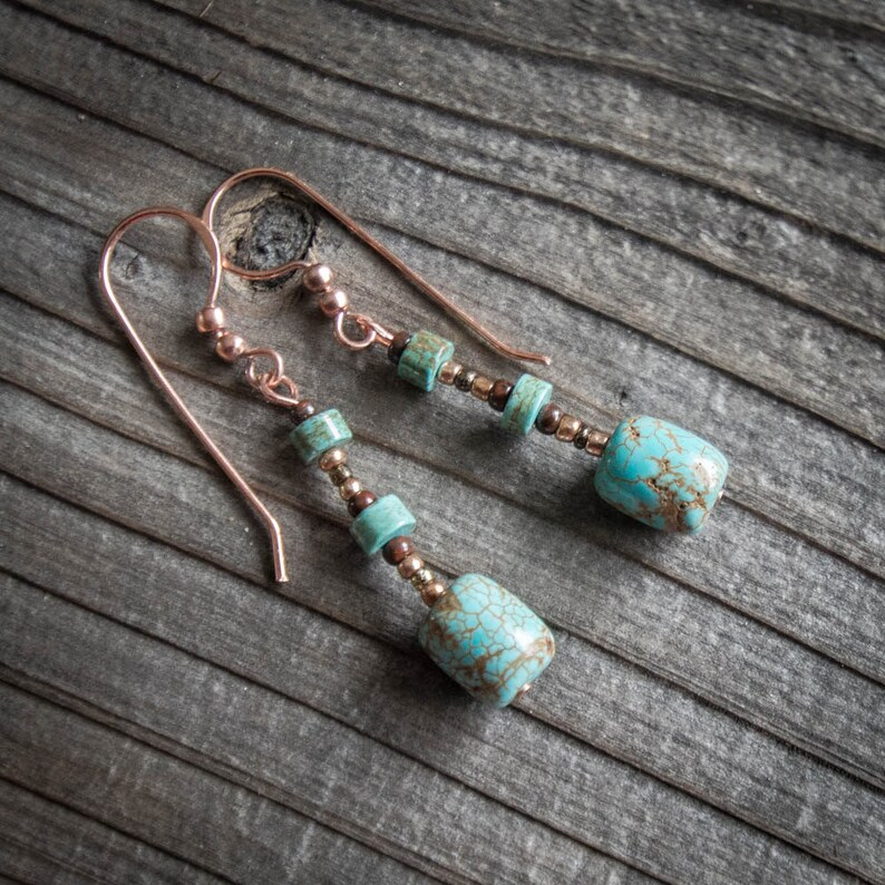 Turquoise Magnesite Earrings image 0