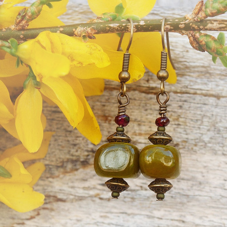 Olivine Dyed Agate Nugget Earrings image 0